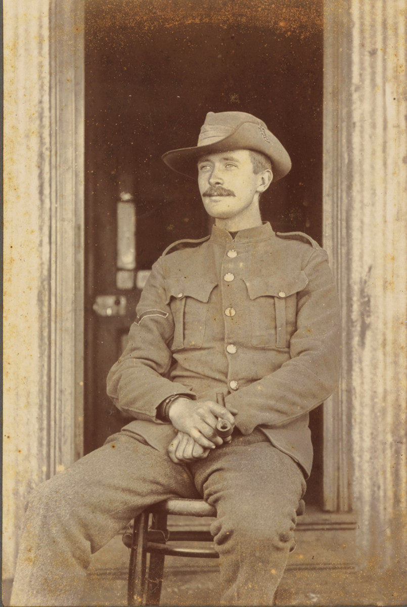 Lance Corporal J. Cochrane, 47 Coy Royal Engineers posed for this photo while in South Africa, 1901. He was entitled to wear the following bars on his Queen's South Africa Medal: Cape Colony, Orange Free State, and Transvaal.