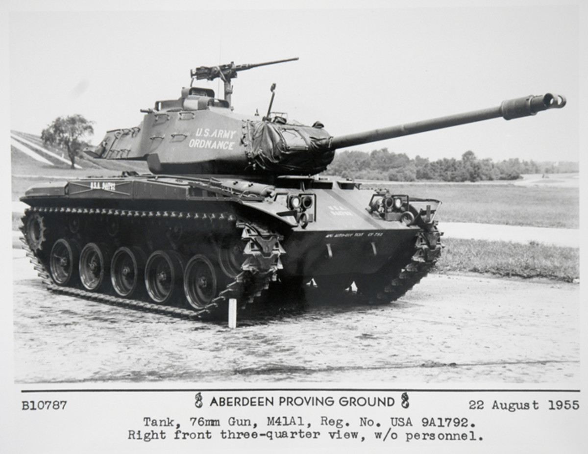 The M41A1, shown here, featured an oil gear gun laying system verses the slower pulse relay system used on the M41.
