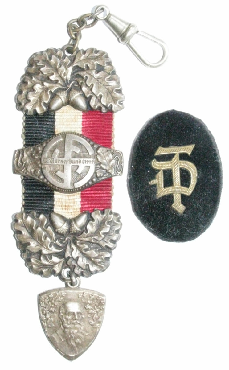 """Pre-Nazi watch fob and patch from the German """"Turnerverband"""" gymnastics association."""