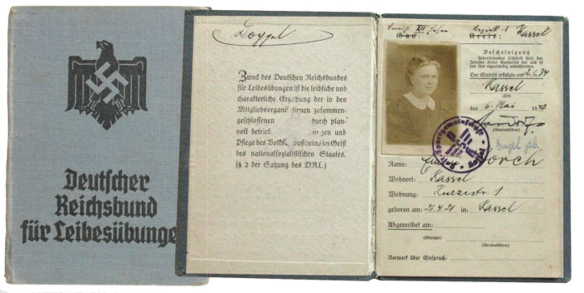 A DRL membership book for a young woman from Kassel.