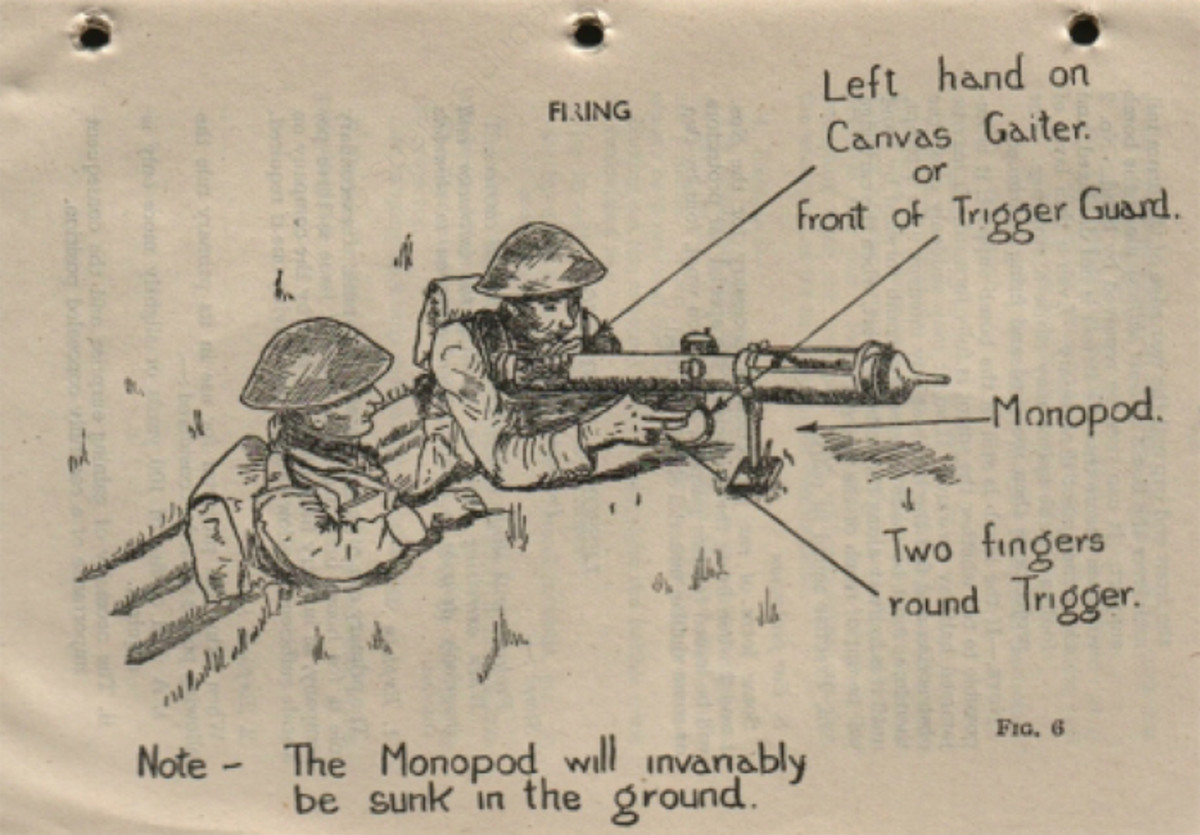 A WWII-era manual shows the proper way a team of two would operate the PIAT Gun.