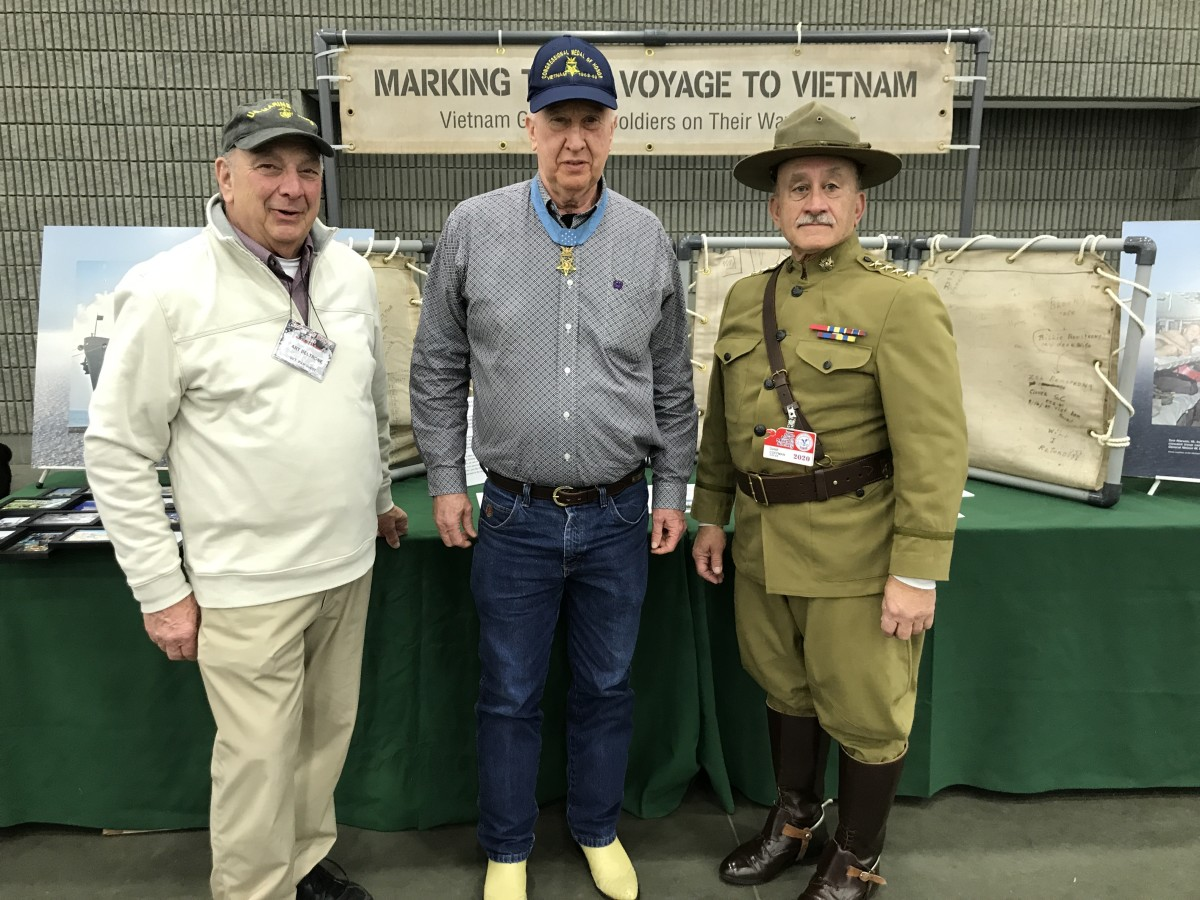 Special guests included Art Beltrone (traveling Vietnam exhibit), Medal of Honor recipient Don Jenkins (center), and General Pershing impersonator, Dane Kaufmann (right).