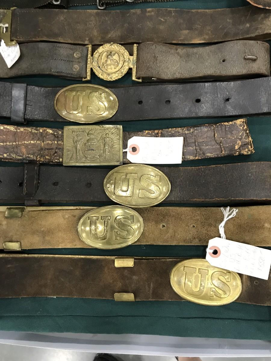 Civil War (and earlier) belt plates and original belts.
