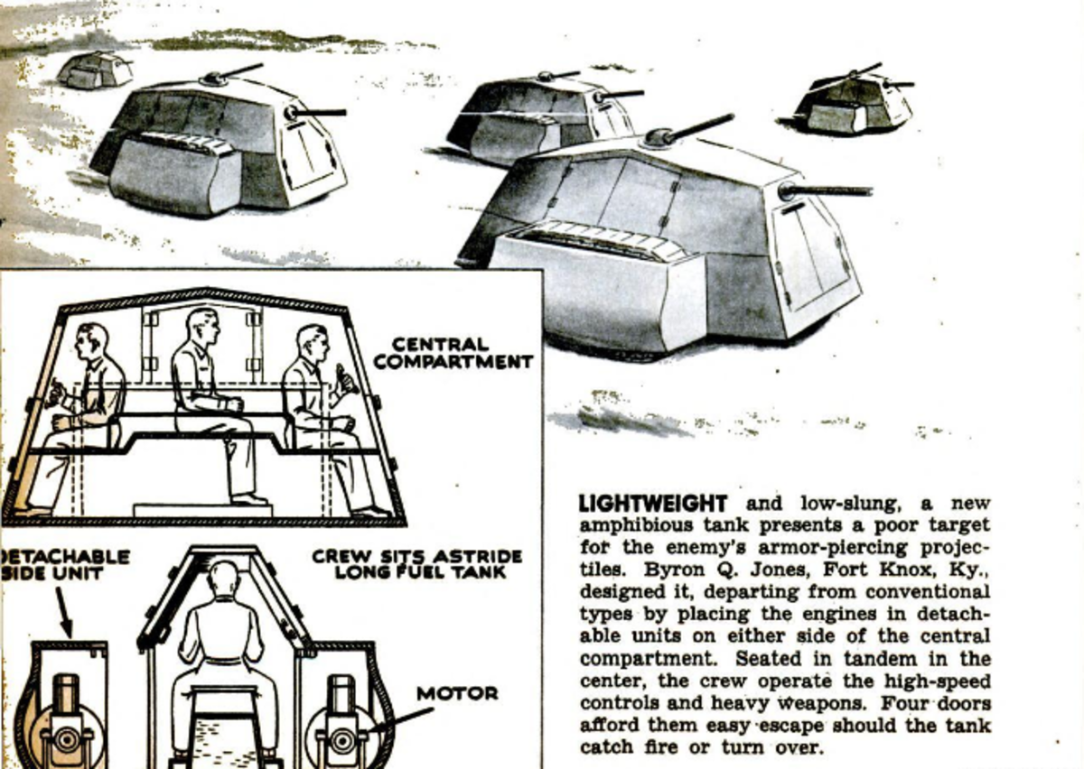 Jone's concept of an amphibious tank published in Popular Mechanics