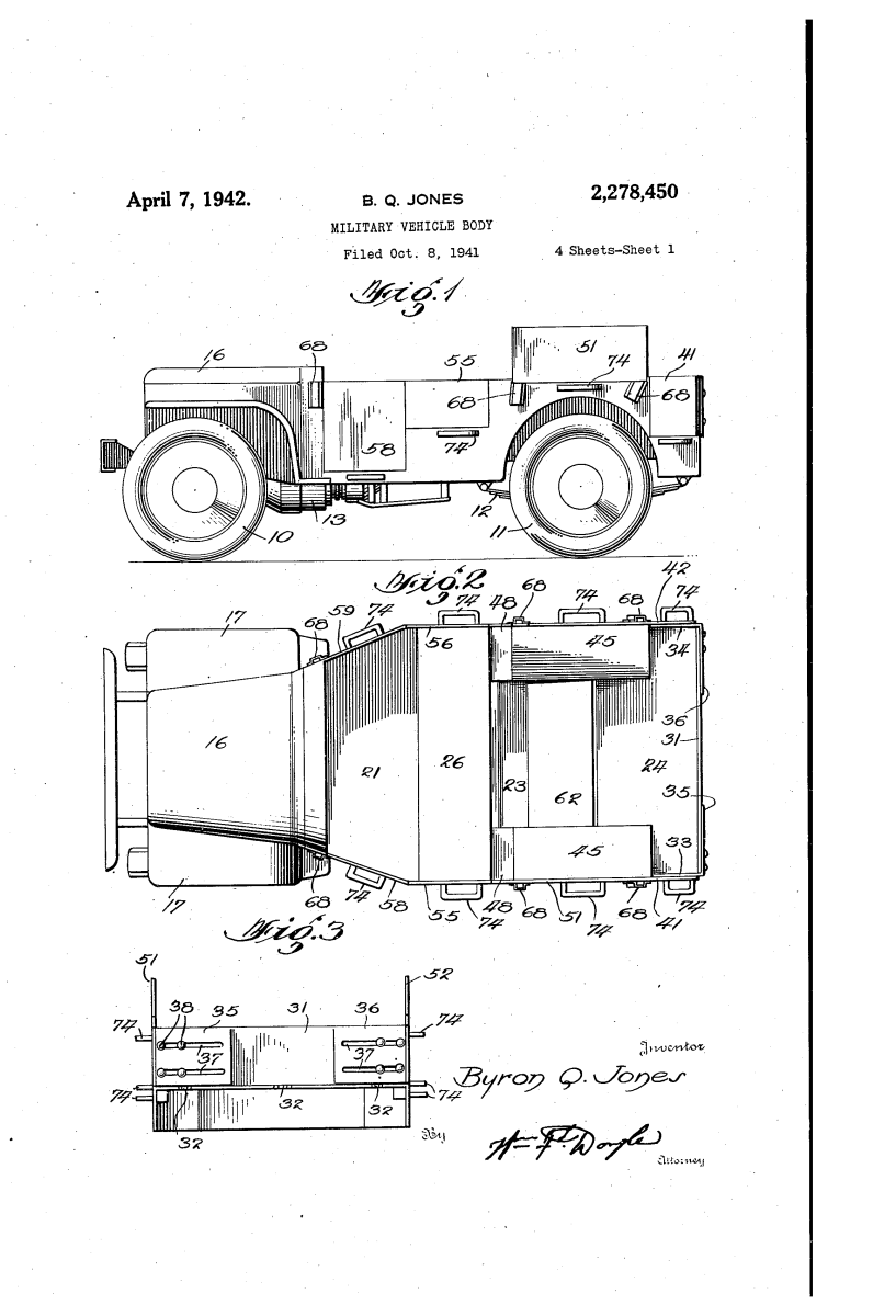Jones' 1941 patent for a 1/4-ton vehicle body