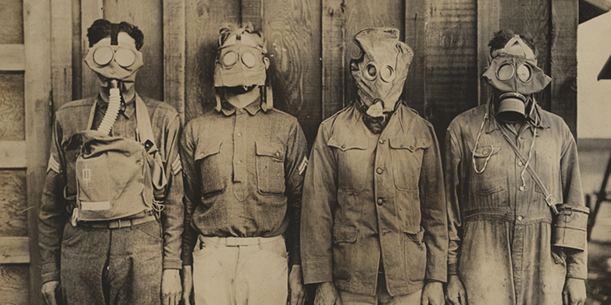 Photo of WWI Gas masks to represent the COVID-19 outbreak.