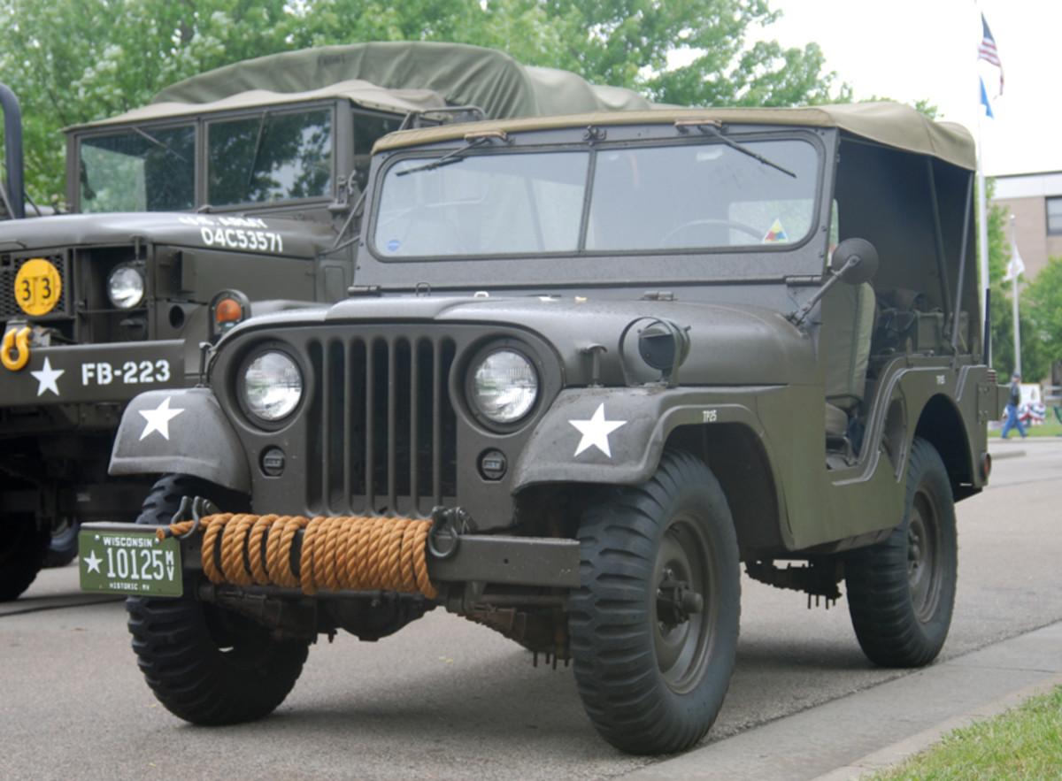 "The distinctive ""round"" front fenders are the distinctive trademark of the M38A1 Jeep."
