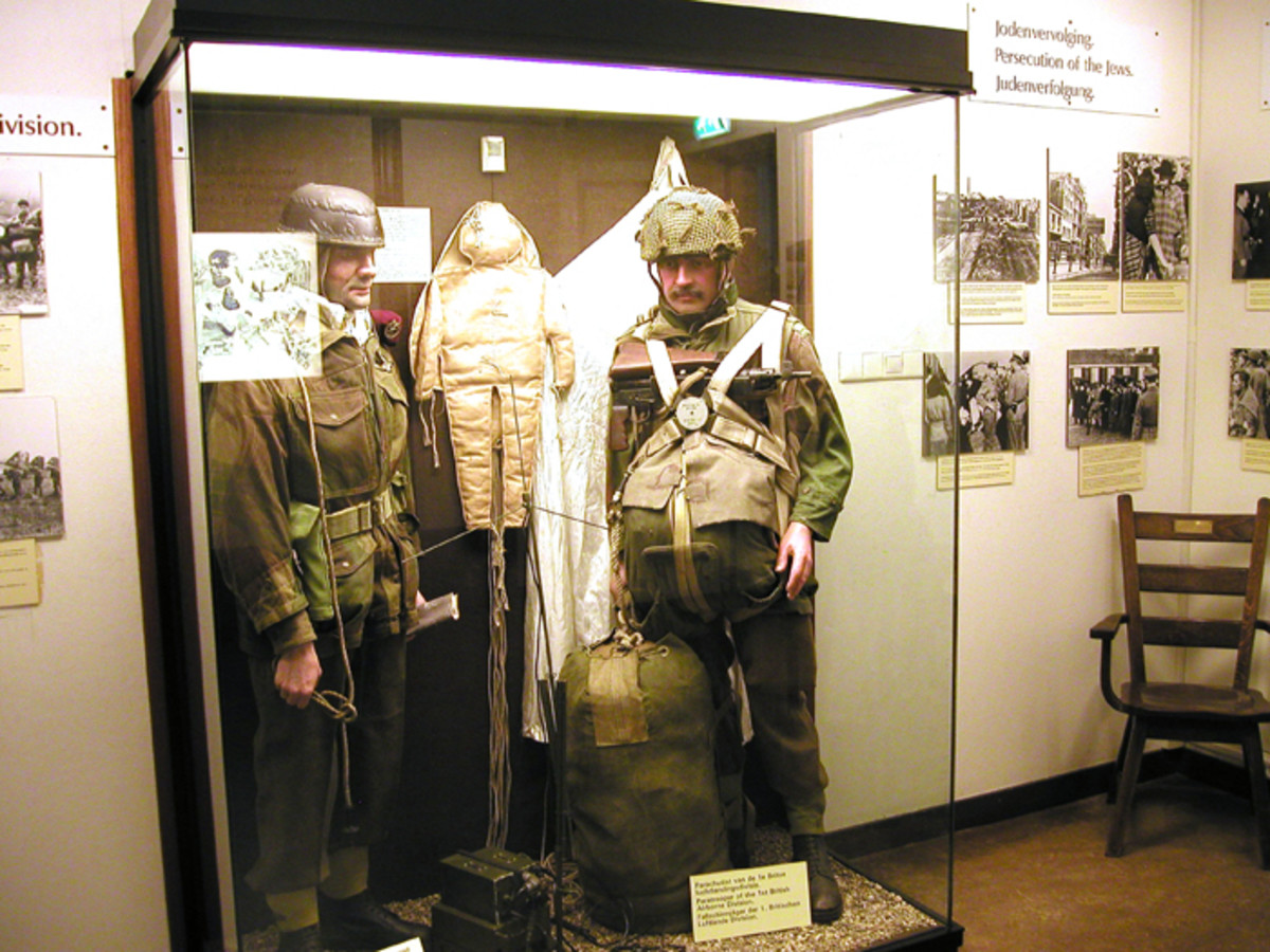Some excellent displays depict a variety of British paratrooper uniforms in the Airborne Museum 'Hartenstein.'