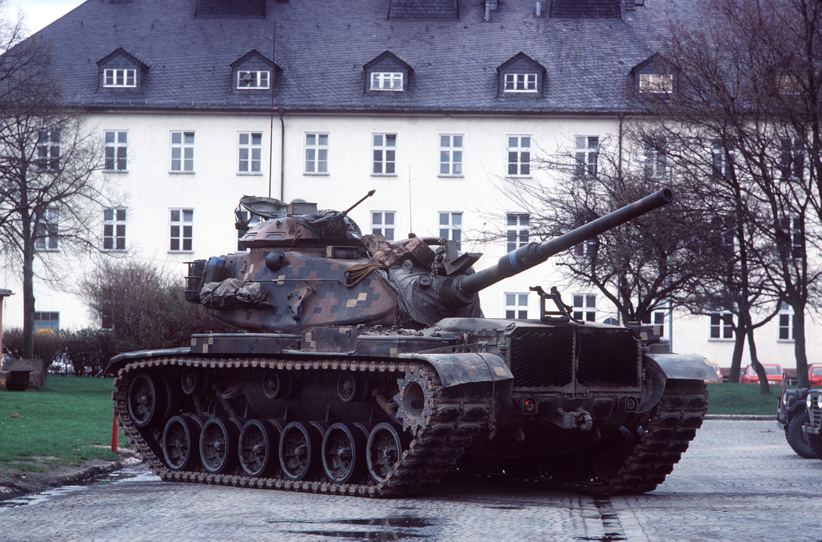 M60A1 with turret in travel position--painted in Dual Texture Gradient Camouflage Pattern