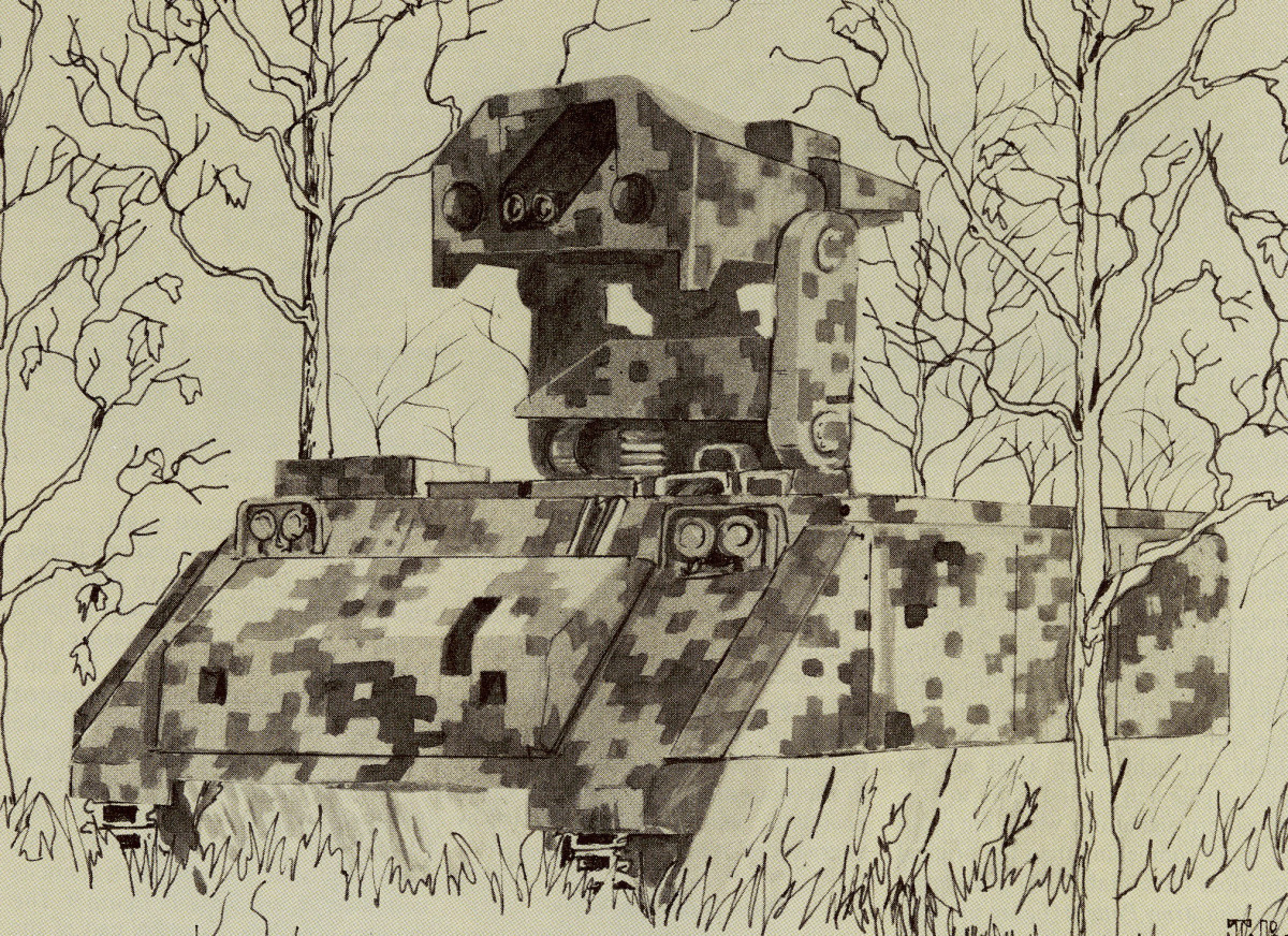 Dual Texture Gradient Digital Camo depicted on an M901 TOW vehicle.