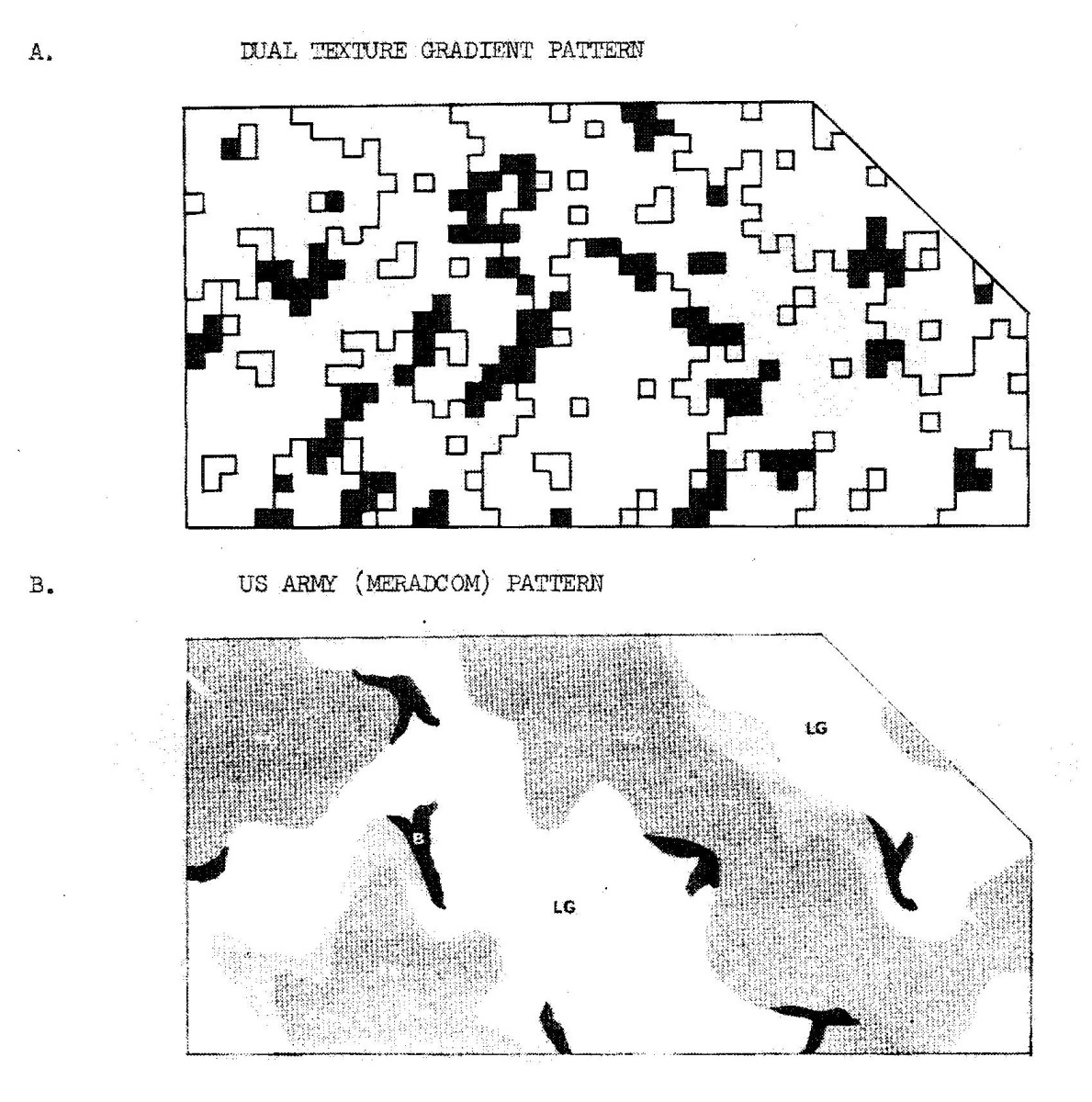 Page from manual depicting the difference between Dual-Tex and MERADCOM camouflage.
