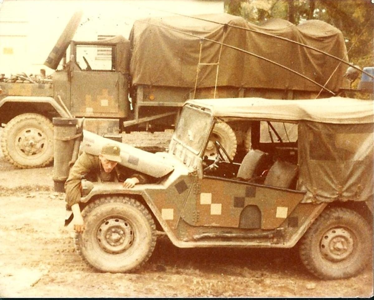 M35 and M151A2 in Dual-Textured camouflage, Camp Reed Roetz Bavaria.