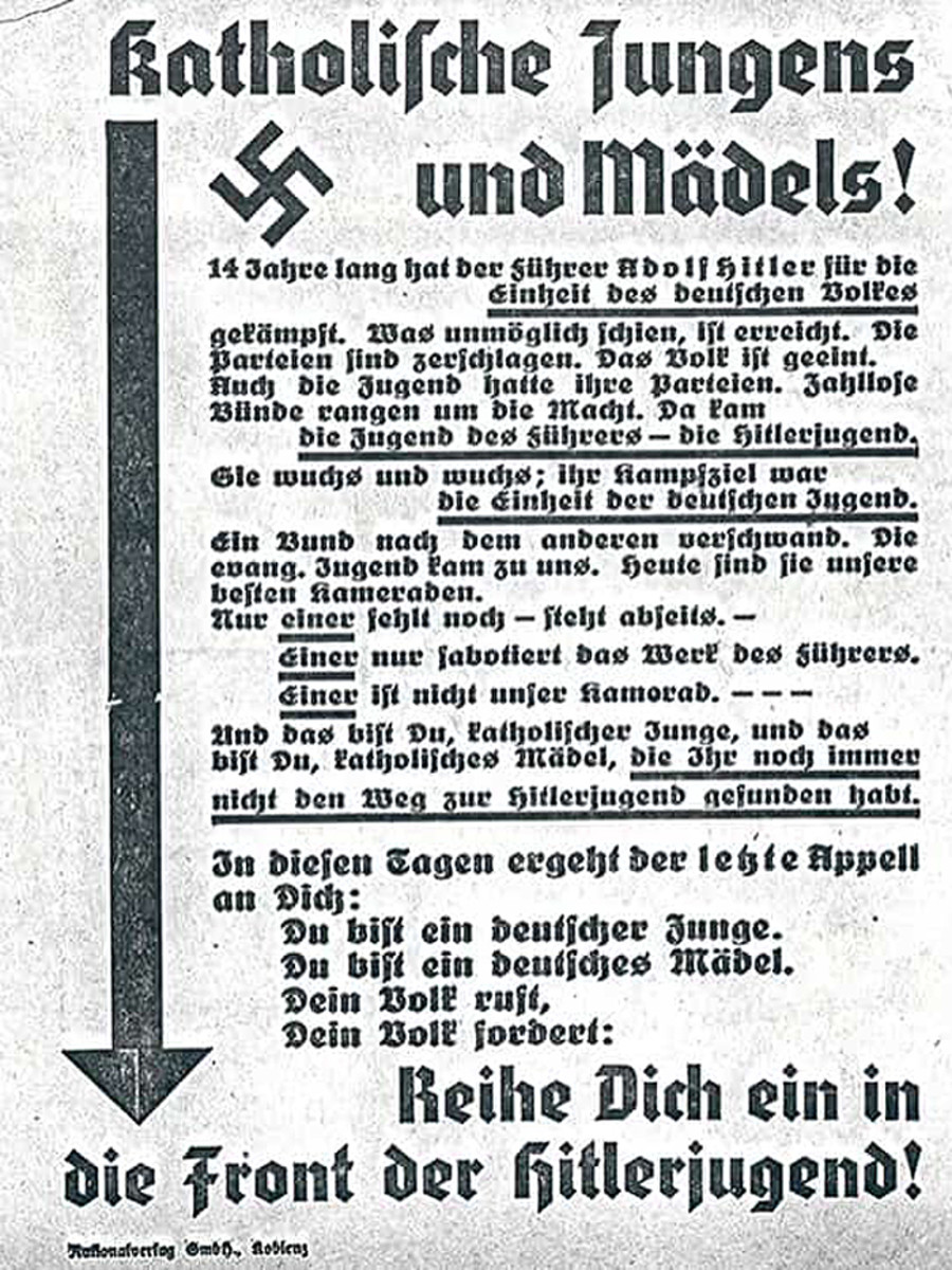In July 1933, the Nazis signed a Concordat with the Vatican,agreed that the Nazis would not interfere in the Catholic Church. In return, the Vatican would diplomatically recognize the Nazi regime. The Nazis soon broke their Concordat with the Vatican and established the Ministry for Church Affairs in 1935 with a range of anti-religious policies aimed at undermining the influence of religion on the German people. This poster from the late 1930s encouraged Catholic boys and girls to leave their religious youth clubs to join the Hitler Youth.
