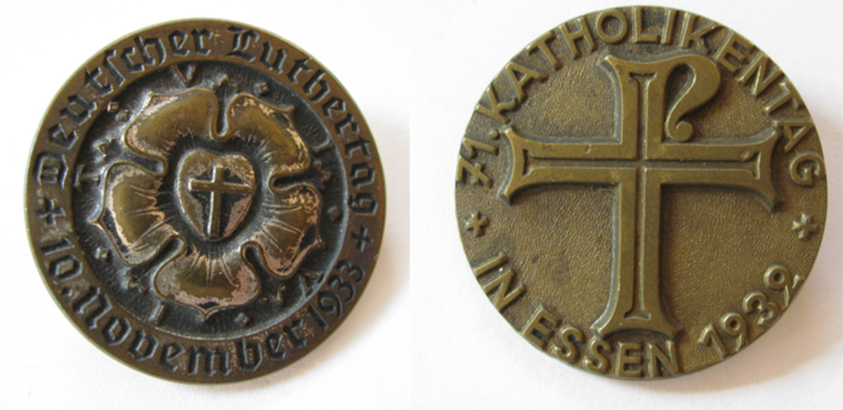 Day badges celebrating Catholic and Lutheran events  were popular as Hitler slowly came into power.