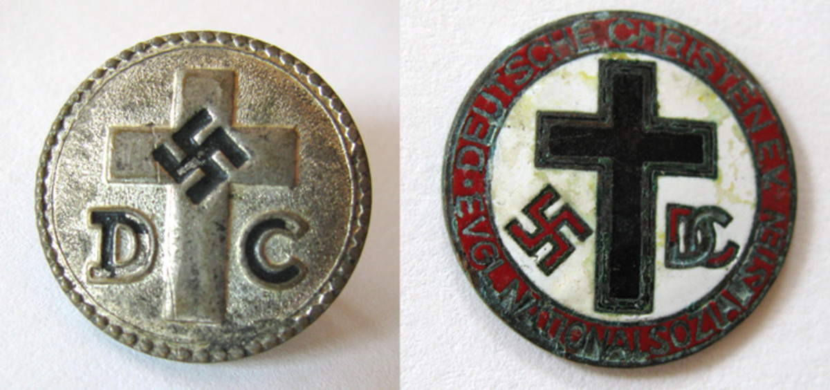 "Examples of the Deutsche Christen group supporter pins  featured crosses and ""D C."""