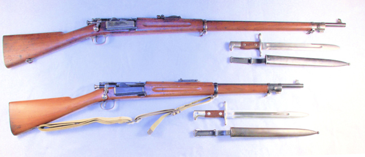The Philippine Constabulary rifle (below) is much shorter than a standard Krag rifle (top). Over a three-year span, the Manila Arsenal shortened 4,980 rifles. After the M1903 Springfield Rifle was adopted, the Krags were declared obsolete and possibly destroyed. Today, only Philippine Constabulary Krag rifle is known to exist.