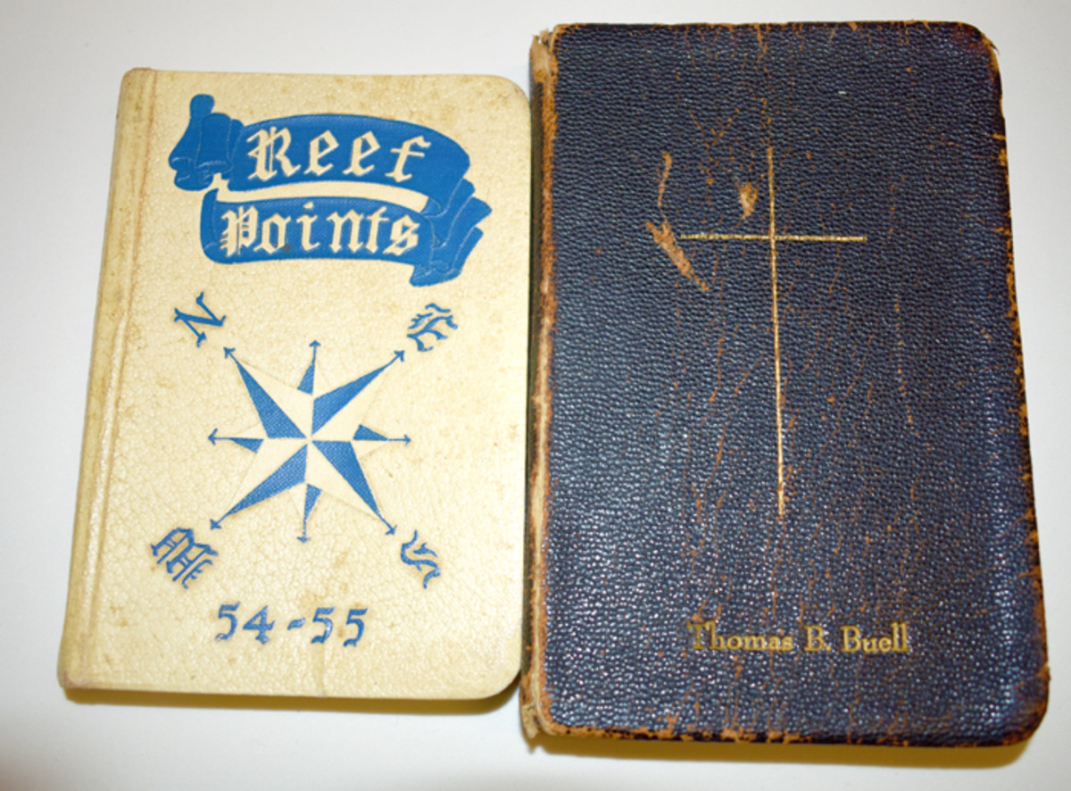 Buell's Naval Academy Guide for Plebes and Bible were among the many relics that appeared on eBay. Through careful correspondence with the seller (a relative of Buell), these and much of the Commander's military estate were preserved as a group.