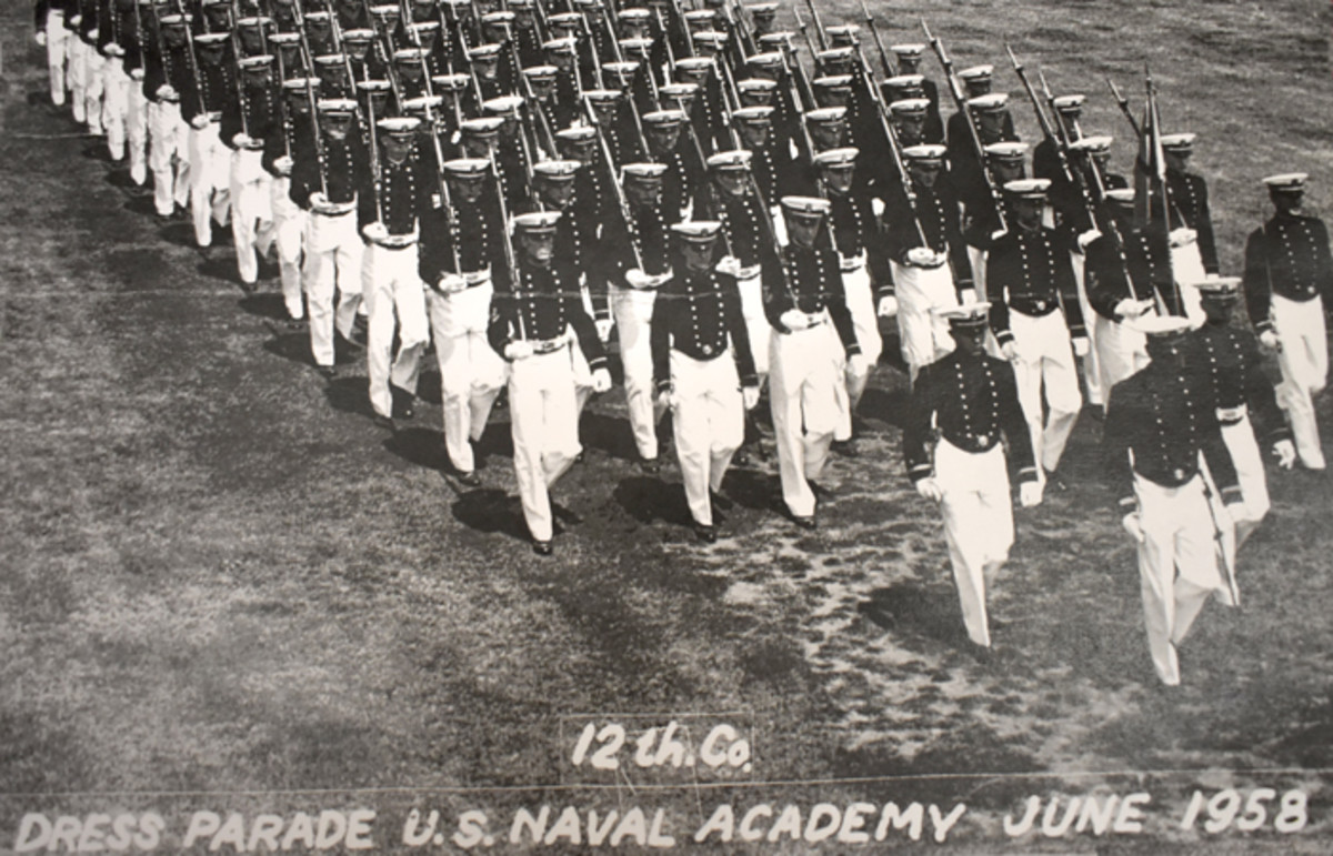 Buell's 12th Company 1958 dress parade prior to graduation.