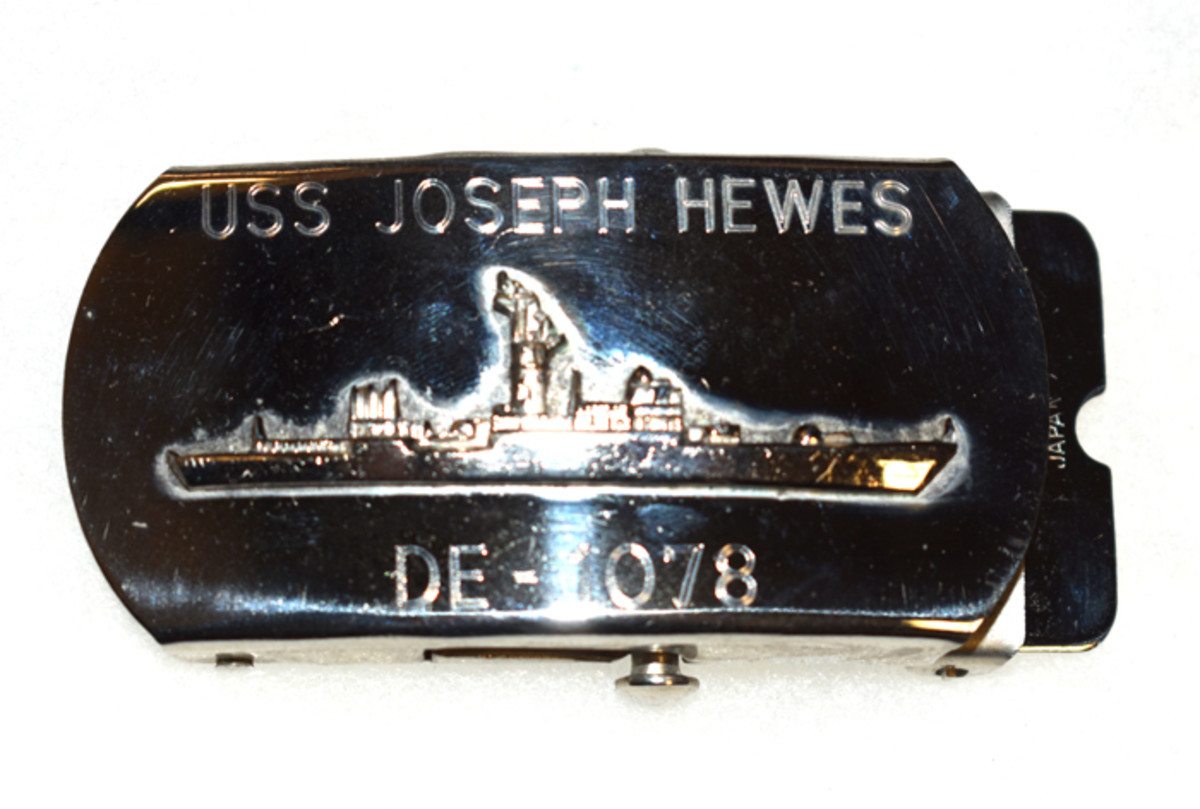 In December 1973, Buell assumed command of the USS Joseph Hewes (Fast Frigate). This is the belt buckle he wore at that time.