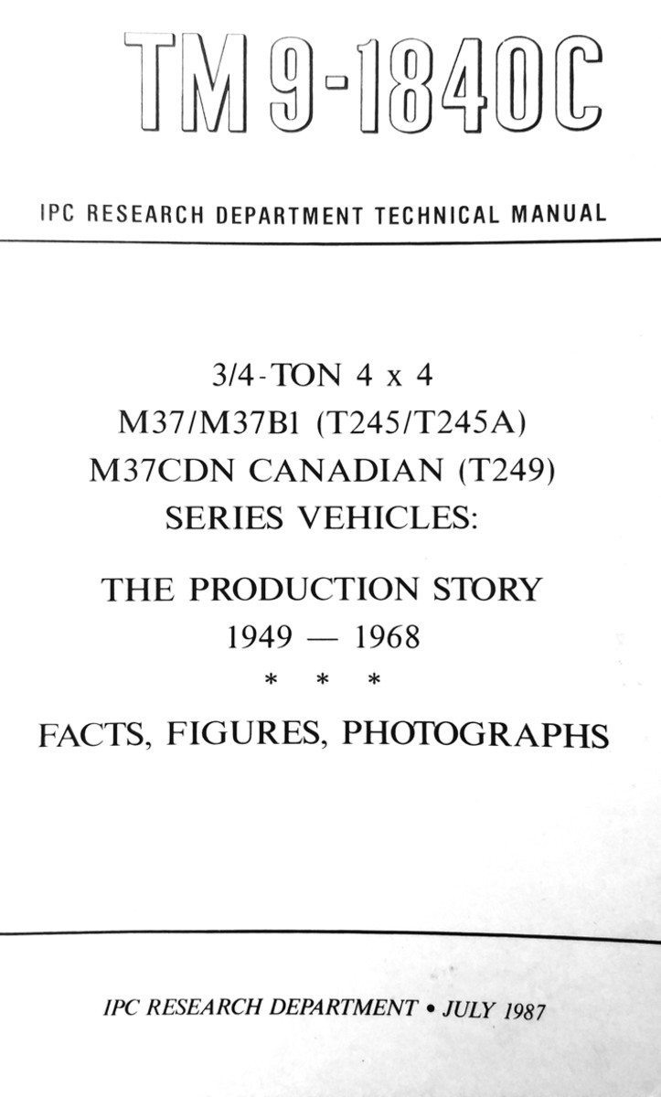 The details on serial numbers came from the small book titled, TM 9-1840C M37 – The Production Story from the IPC Research Department (John Zentmeyer), published in 1987. It is out of print but several vendors still stock copies.