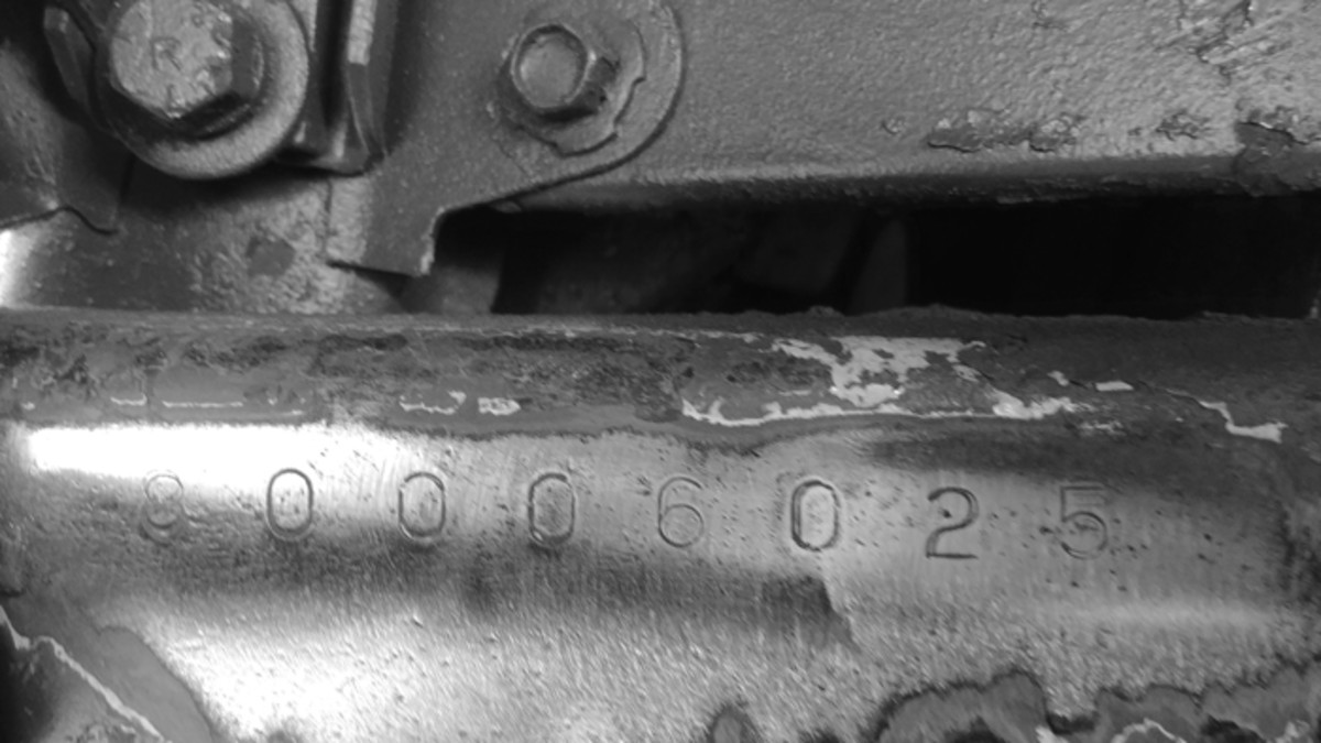 The original vehicle serial number was found on the left front frame after sanding and lightly grinding.