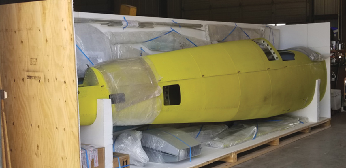 Supermarine Spitfire Mk26b in the crate nearly ready for shipment.