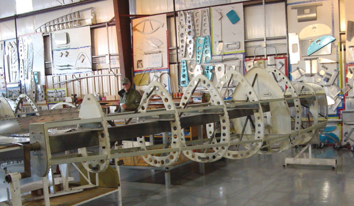 View of internal structure of a Supermarine Mk26b Spitfire prior to application of the aluminum skin.