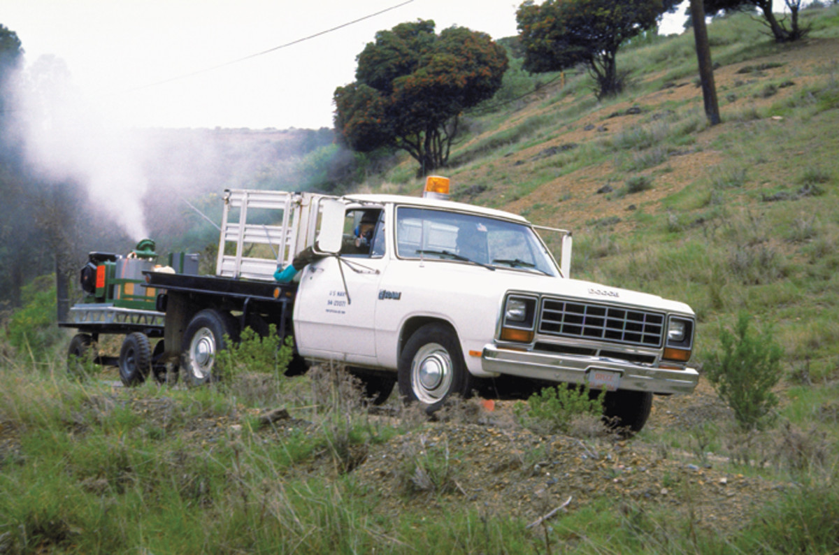 A white Navy Disease Vector Control Office Dodge spraying an area for mosquitoes in 2014.