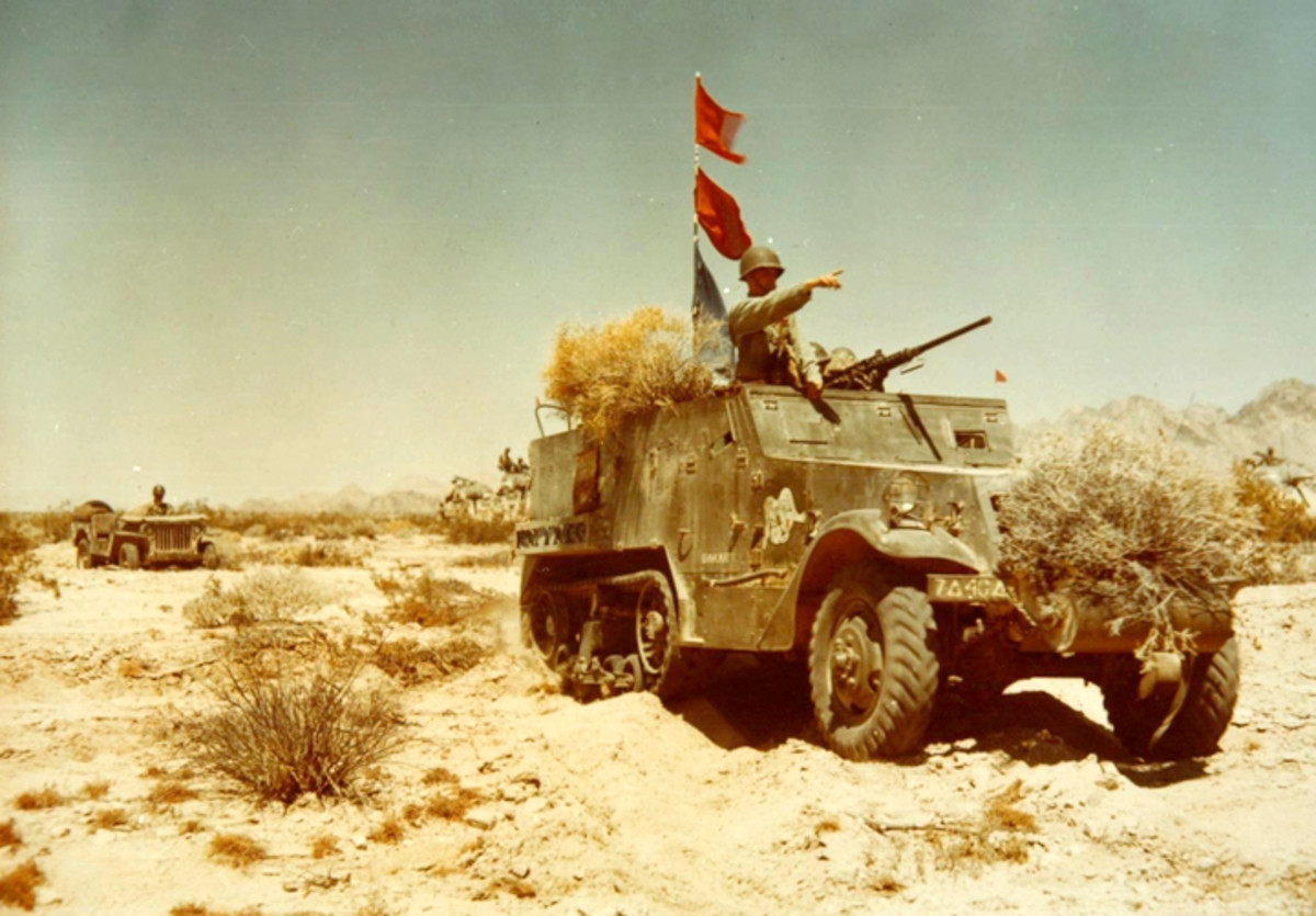 This M2 is serving as a command vehicle during desert maneuvers.