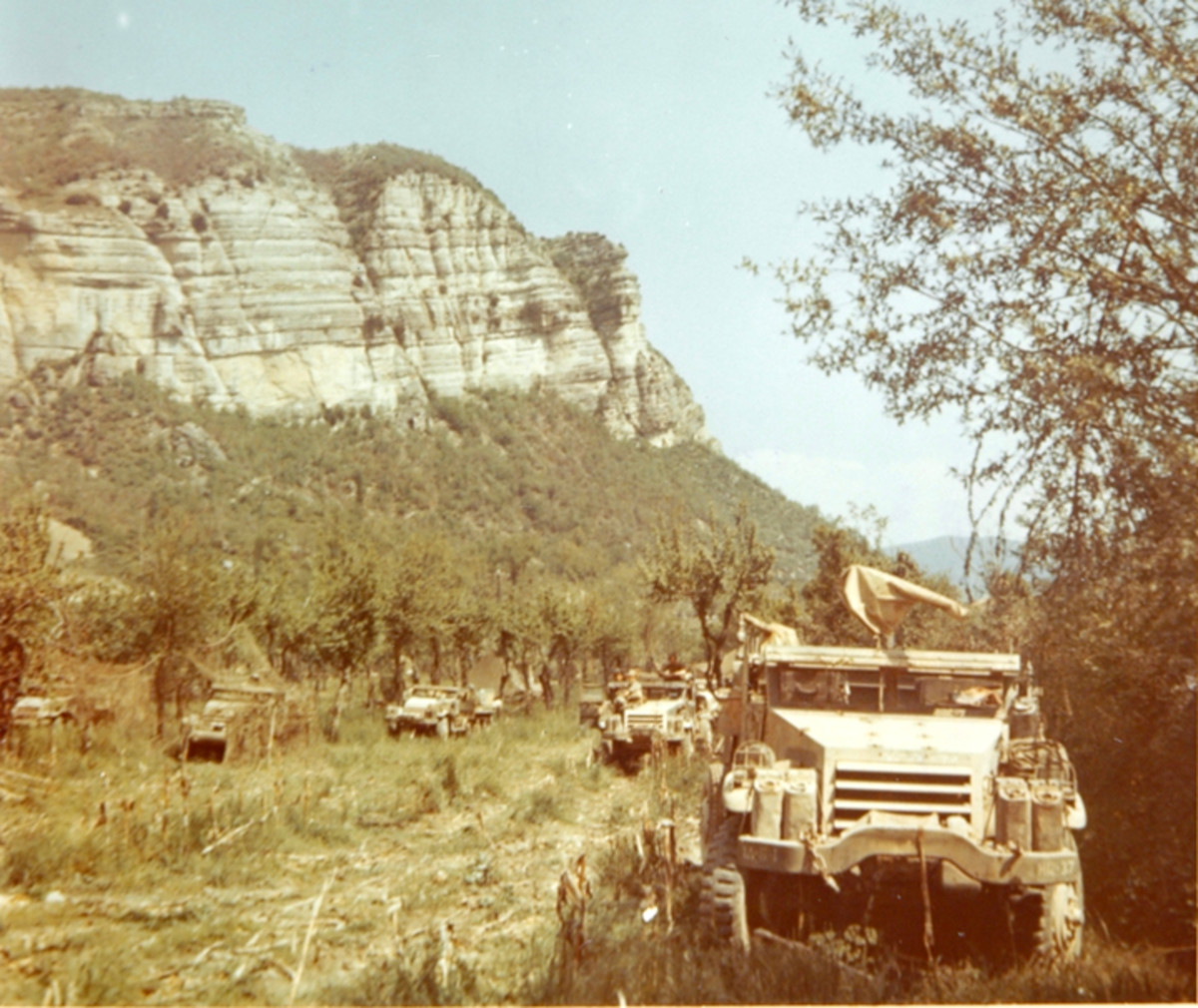 At least six First Armored Division half-tracks are visible in this photo taken in Northern Italy.
