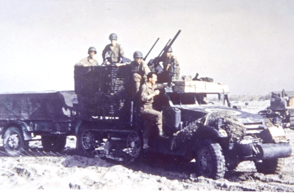Am M15 Multiple Gun Motor Carriage photographed near Salerno was armed with a 37mm M1A2 gun and two .50 caliber machine guns.