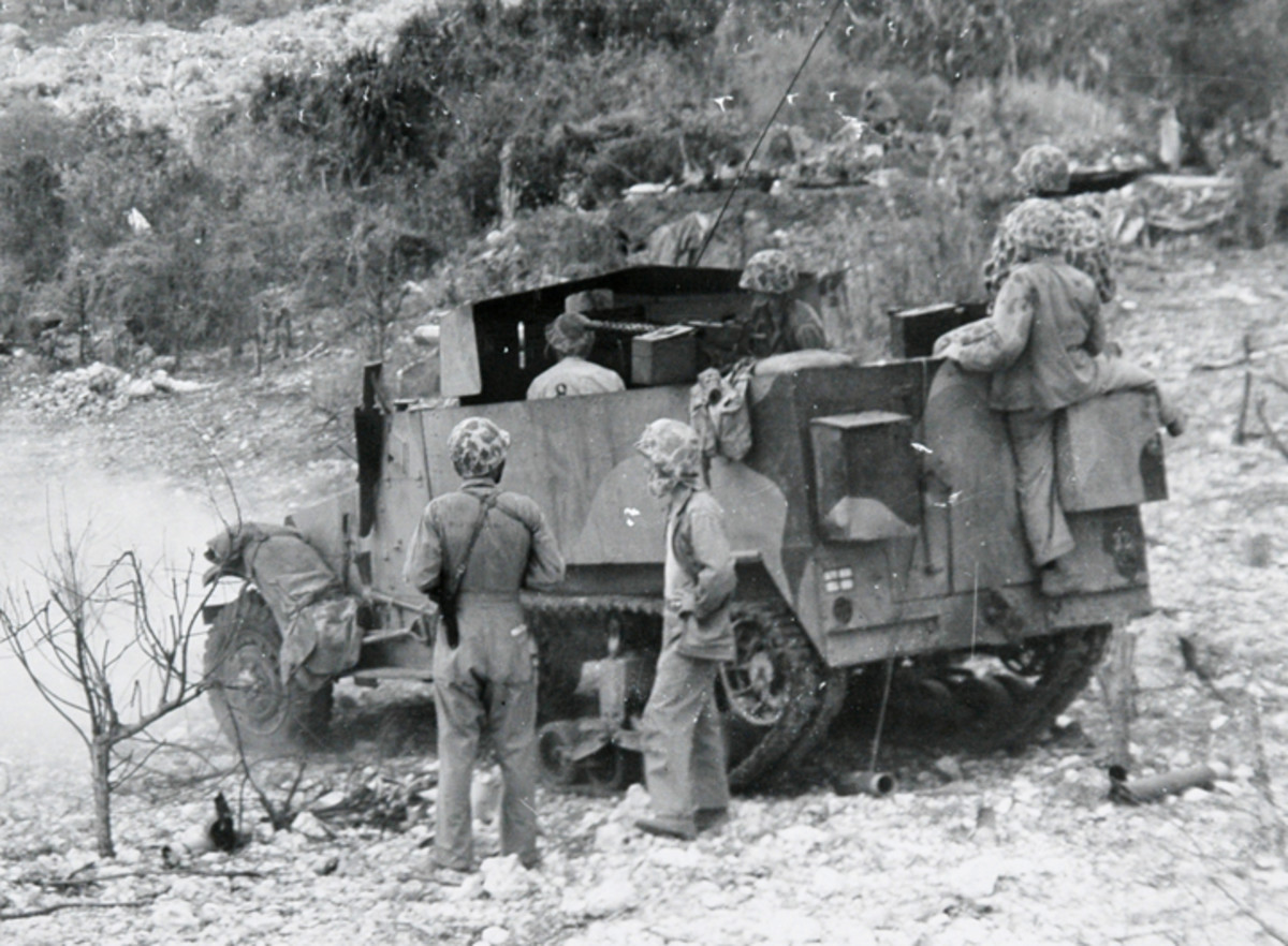 The 75mm M1897A4 cannon mounted on the M3 Gun Motor Carriages were used in the Pacific Theater to knock out enemy pill boxes and machine gun nests.