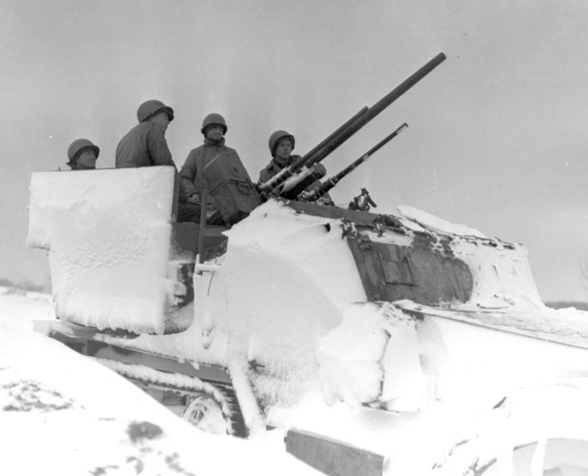 Snow-covered M15A1 belonged to the 778TH AAA Battalion, 3rd Armored Division.