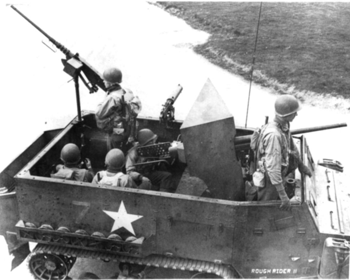 37mm antitank guns and shields were removed from obsolete Dodge M6 Gun Motor Carriages and installed in M2 half-tracks. External rear stowage was added at the same time.