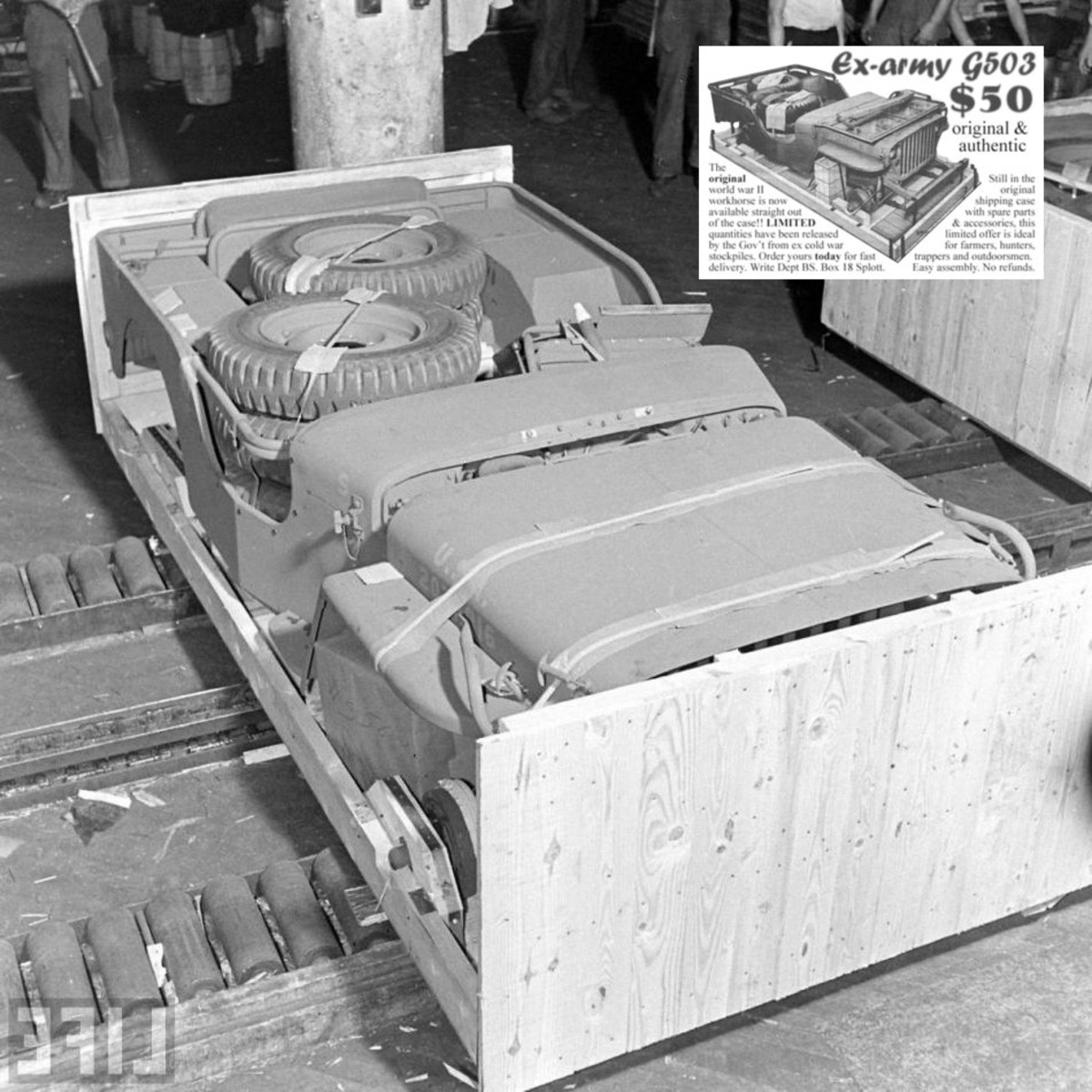 Period photo from Life magazine with a WWII Jeep in a Crate. Attached is one of the ads that appeared in many magazines advertising these boxed wonders for only $50.