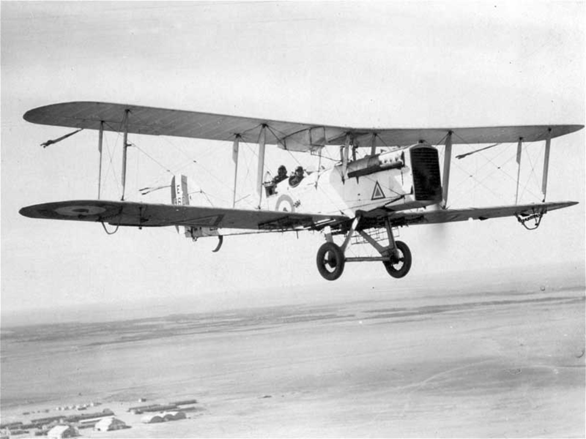 The de Havilland DH9 two-seat light bomber entered RAF service in 1917. 3,204 DH9s were built and saw considerable service during and after WWI.