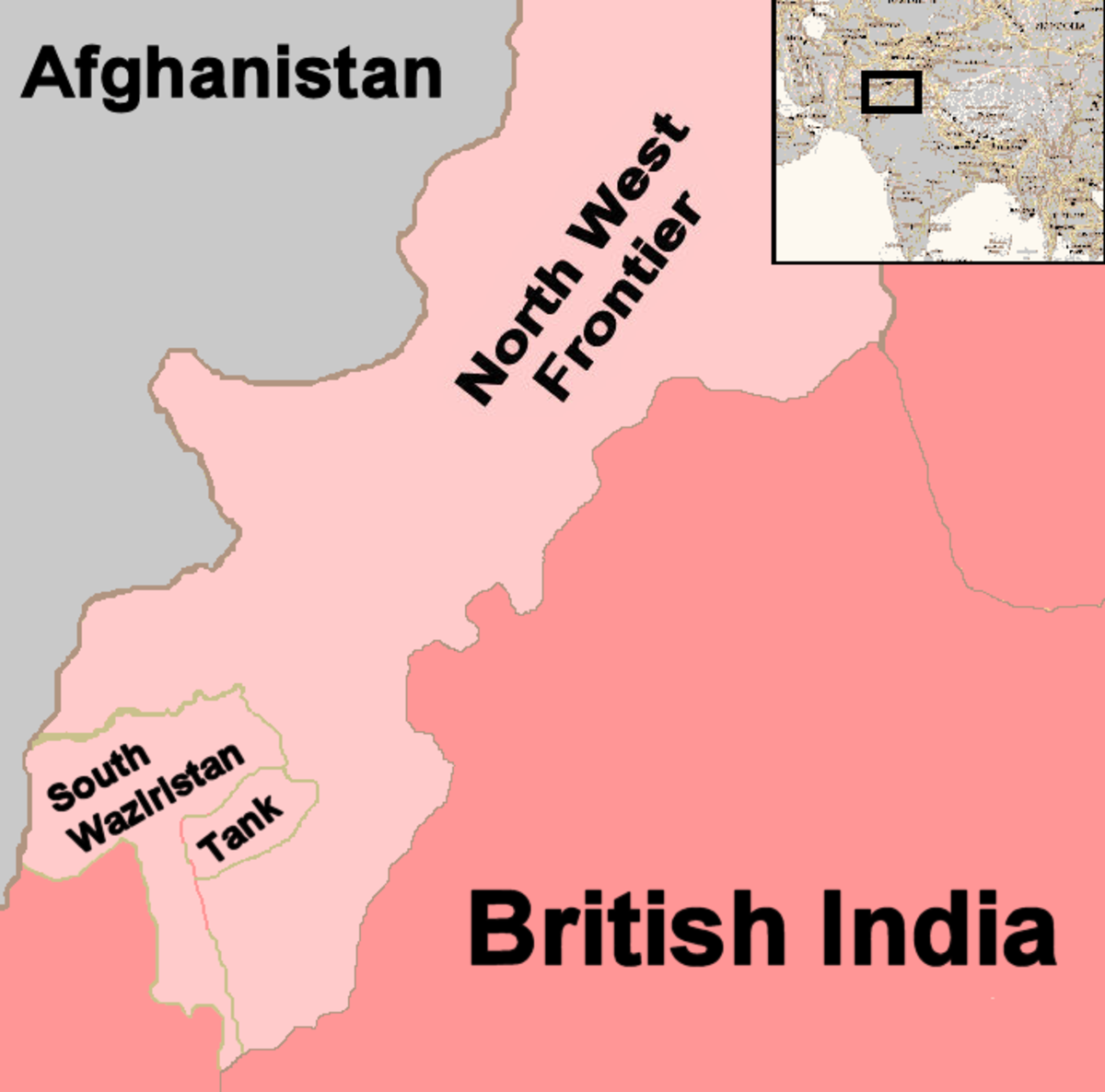 "Map show that Waziristan is located in the southwest corner of what was known as the ""North West Frontier"" of British India. Its western edge bordered Afghanistan."