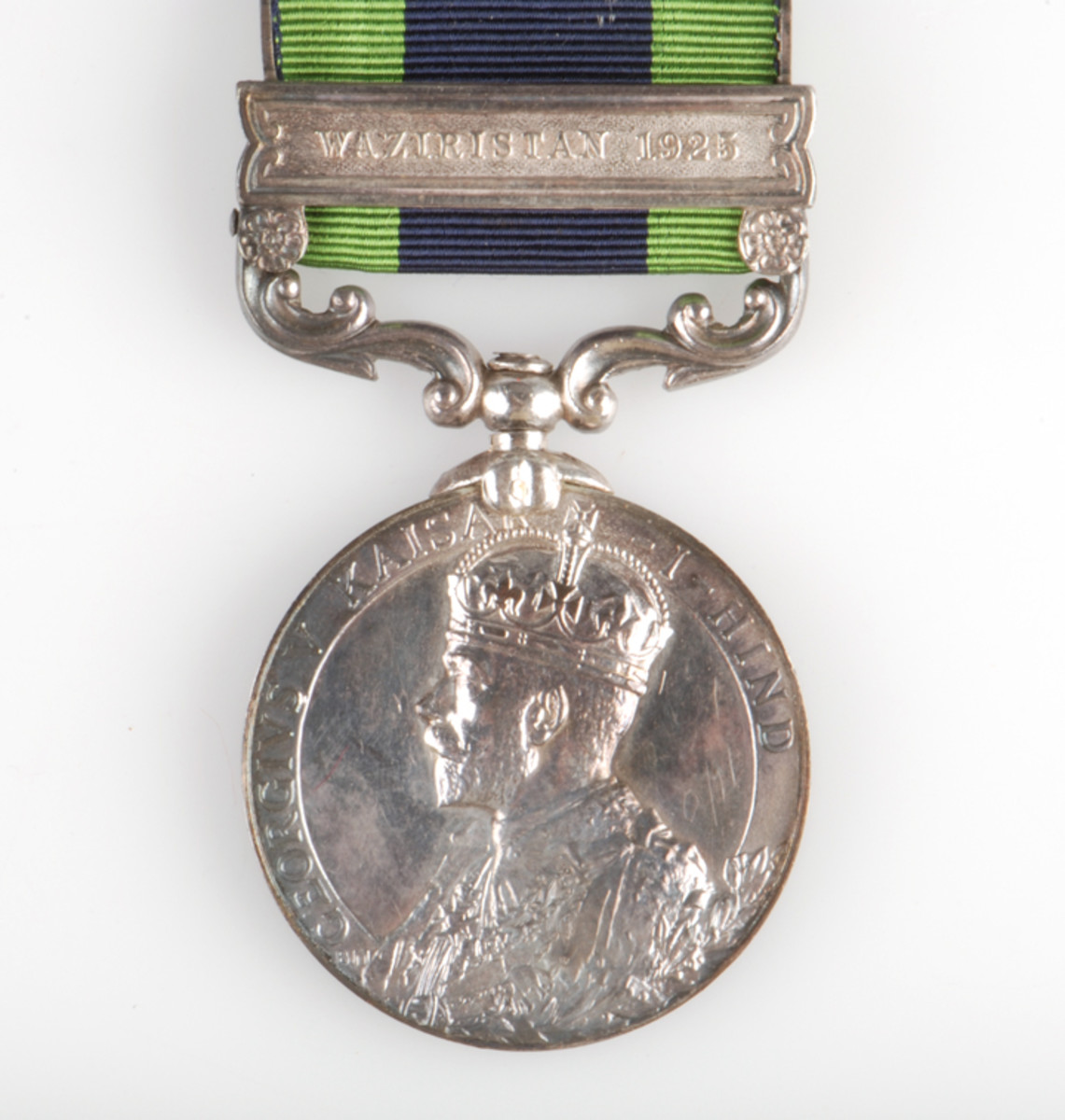 "Obverse of the India General Service Medal given to British and Indian forces for a number of campaigns and operations in India from 1908 to 1935 with 11 different clasps for specific operations. By far the rarest, ""Waziristan 1925"" was given to 46 officers and 214 other ranks personnel who participated in ""Pink's War."""