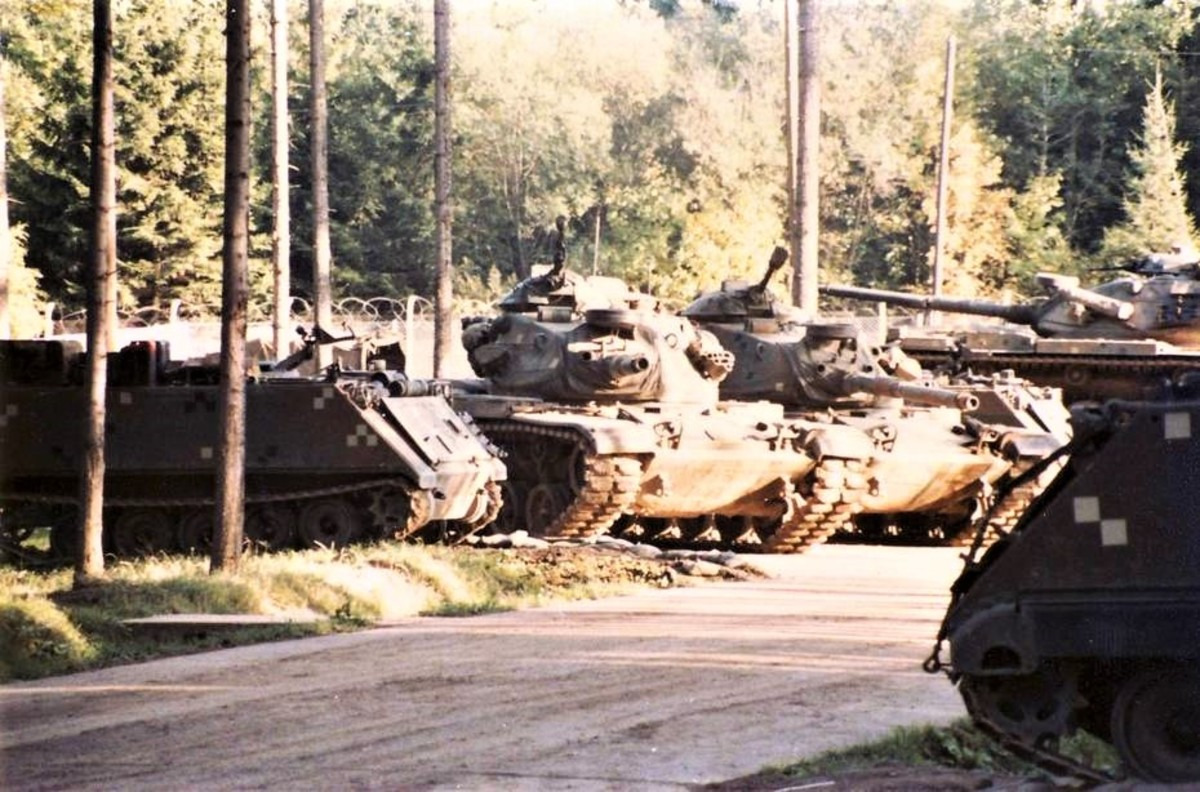 Some M60A3s and M113s of 1st Squadron taken at Camp Gates in 1983.