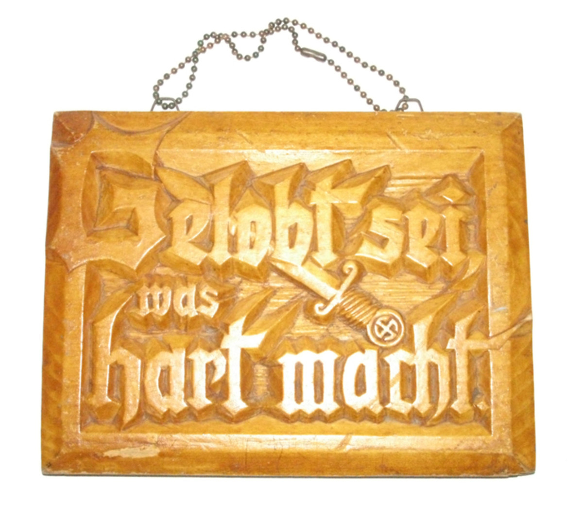This was carved by a Buchenwald Concentration Camp inmate who put his name and date on the reverse.