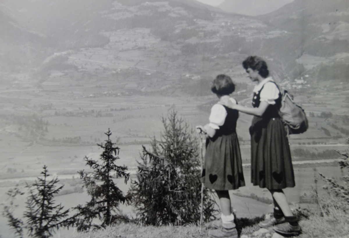 The natural beauty of trees and the image of the peasant class was prominent in Third Reich ideology. This snapshot of a mother and daughter wearing traditional costume was made in the Alps in 1943.