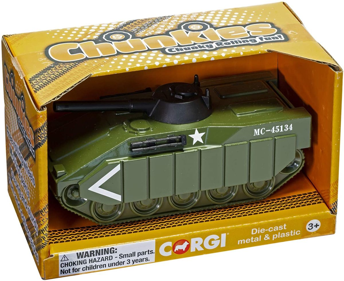 Chunkie's Diecast Military Tank Made by Corgi, this big toy is suitable for kids 3+ and sort of looks like an M2 Bradley--just $8.99