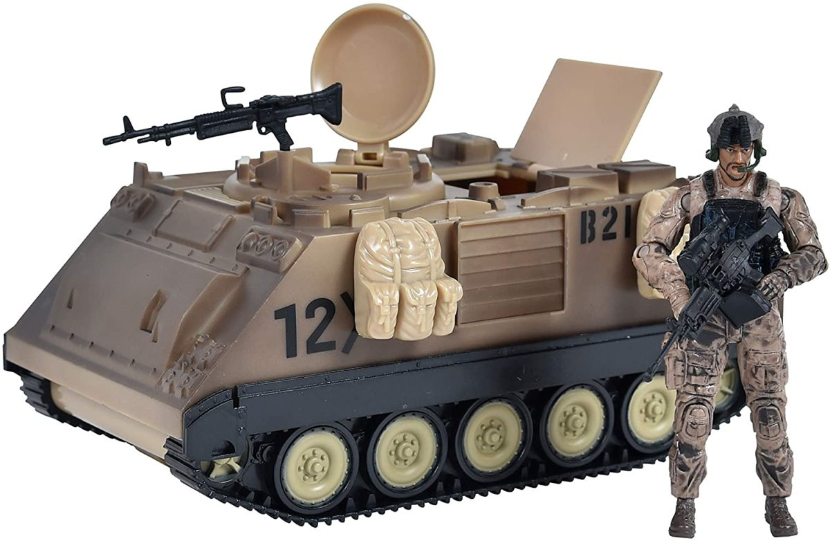 Not diecast. Rather, this M113 and figure are hard plastic--just $12.99.