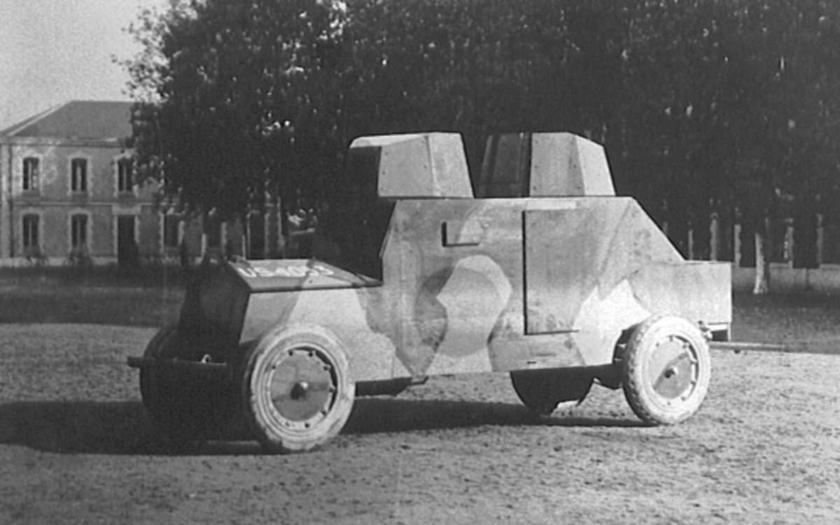 Wood-bodied prototype of a White armored car in France.