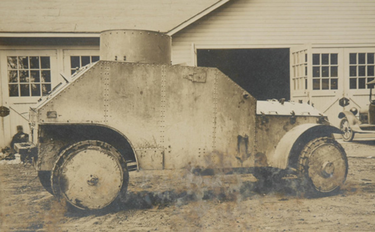 Exterior view of White Armored Car made by Van Dorn Iron Works