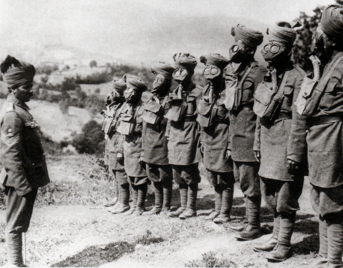 Members of the Indian Corps at Ypres wearing gas masks.
