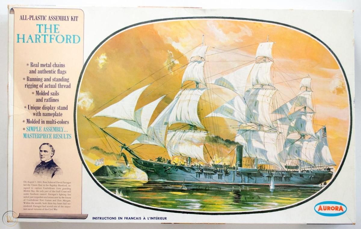 Aurora model kit of the Civil War frigate, USS Hartford