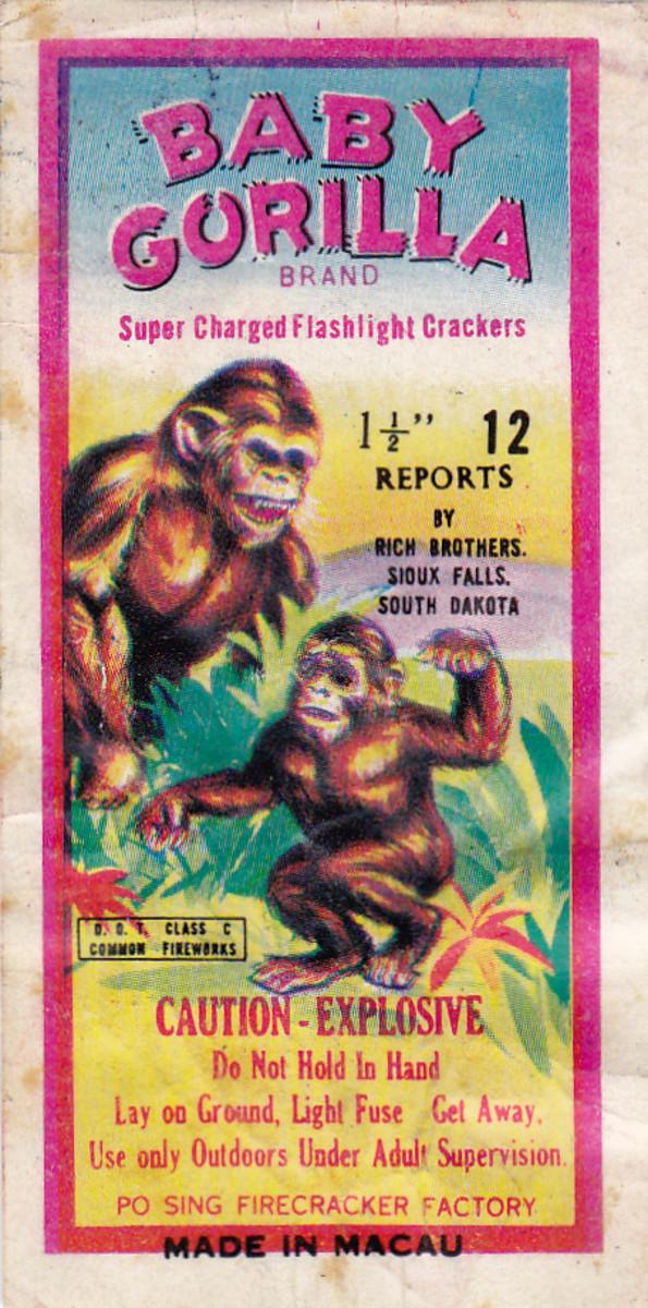 Vintage art showing Baby Gorilla brand firecrackers.