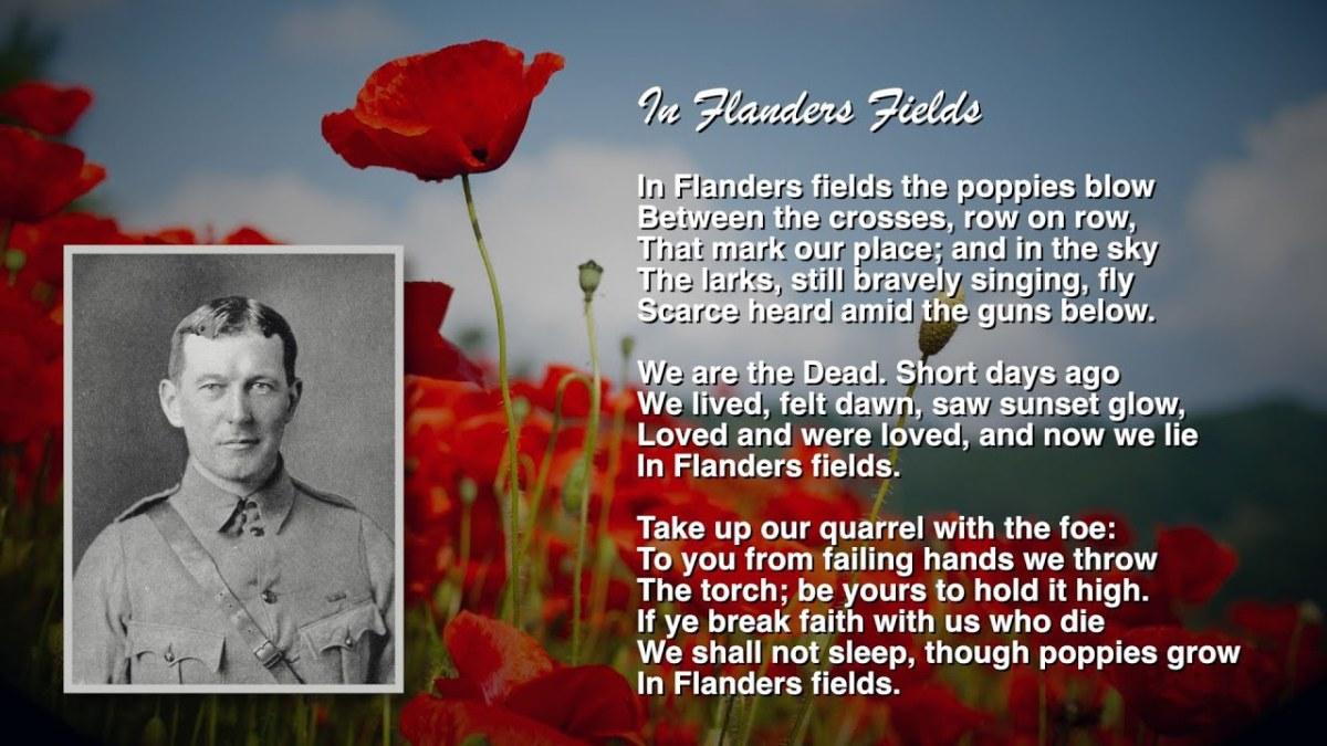 Photo of Lt. McCrae, a Poppy and written copy of poem, In Flanders Fields