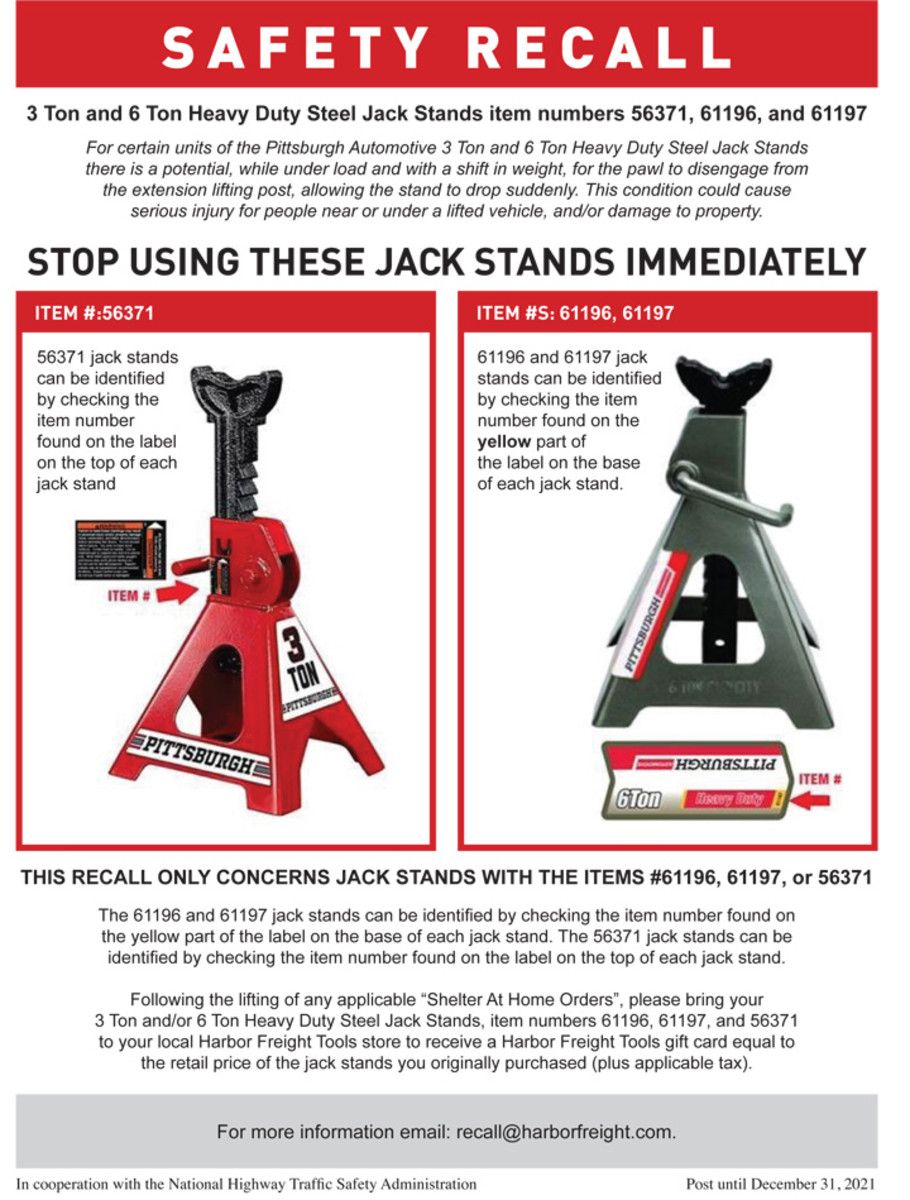 Harbor Freight recall notice on item 56371, 61196, and 61197 jack stands.